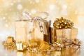 Картинка ленты, праздник, подарки, Новый год, золотистый, коробки, New Year, банты