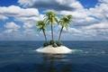 Картинка пальмы, арт, остров, кусты, островок, море, три, песок, океан, облака
