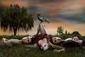 Картинка Дневники вампира, трое, дерево, трава, грач