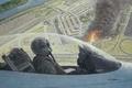 Картинка пламя, кабина, арт, Пентагон, 2001года, дым, Вашингтон, рисунок, F-16, лётчик, 11 сентября, Виргиния, самолёт, огонь