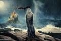 Картинка гроза, девушка, полет, ночь, замок, дождь, огонь, луна, дракон, спина, крылья, сериал, крепость, Daenerys Targaryen, ...
