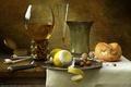 Картинка орехи, натюрморт, лимон, бокал, Kornél Ravadits