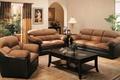 Картинка стол, диван, окна, растения, кресла, светильник, картины, шторы, гостинная