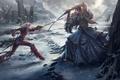 Картинка битва, меч, снег, арт, эльфийка, девушки