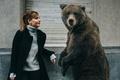 Картинка медведь, знакомые, друзья, девушка