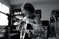 Картинка music, girl, guitar, photo, headphones, microphone, singer, black and white, Emily Osment