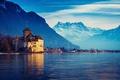 Картинка Женевское озеро, Швейцария, горы, город