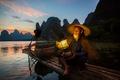 Картинка лодка, район Гуанси-Чжуанск, река Гуйцзян, Китай, рыбак, баклан, птица, фонарь