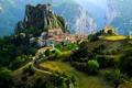 Картинка деревня, Альпы, городок, горы, Франция, дома
