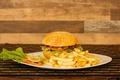 Картинка french fries, hamburger, sauce, salad