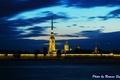 Картинка ночь, река, Петропавловская крепость, санкт-петербург