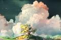 Картинка дерево, птицы, нарисованный пейзаж, арт, облака