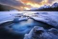 Картинка расвет, озеро, снег, горы, зима, лед, лес