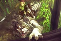 Картинка тигр, хищник, фэнтези, девушка, арт, эльфийка, лес