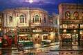 Картинка ночь, луна, улица, дома, картина, фонарь, магазины, витрины, Cao Yong