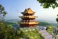 Картинка деревья, ступеньки, пагода, Япония, замок