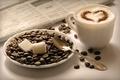 Картинка кубики, кофе, зерна, ложка, чашка, газета, сахар, блюдце, Капучино, cappuccino