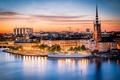 Картинка море, небо, огни, корабль, дома, Стокгольм, Швеция