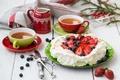 Картинка cream, чай, food, apples, десерт, dessert, drink, черника, blueberries, еда, яблоки, напитки, tea