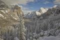 Картинка снег, горы, Сьерра-Невада, California, долина, зима, Sierra Nevada, Национальный парк Йосемити, Yosemite National Park, Йосемити, ...