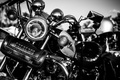 Картинка chrome, motorcycle, metal, white and black, leather handbag, lights