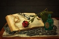 Картинка натюрморт, бечевка, очки, цепь, книга, роза